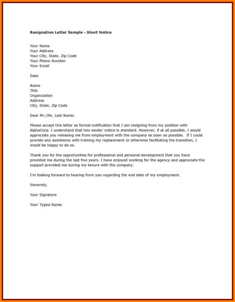 Letter Of Resignation After 3 Months 9 Resignation Letter Sle One Month Notice Handy Resume
