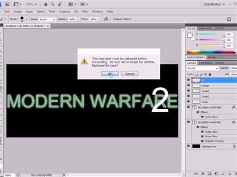 construct 2 text tutorial photoshop cs4 tutorial how to create modern warfare 2