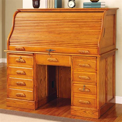 oak roll top computer desk solid wood computer roll top desk office furniture