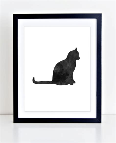 free printable wall art cat cat print black cat art printable wall art watercolor cat