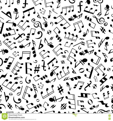 pattern of duration of notes and silences in music seamless music notes and marks background pattern stock