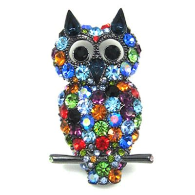 colorful jewelry butler wilson colourful owl brooch