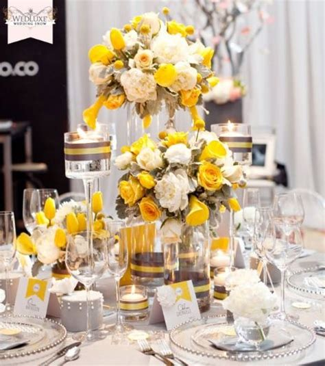 yellow reception wedding flowers wedding decor yellow wedding flower centerpiece yellow
