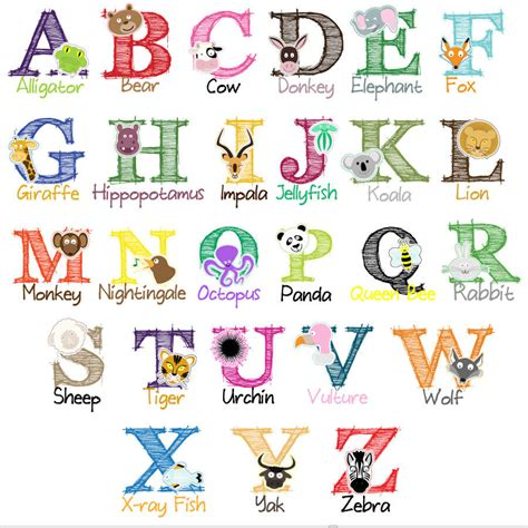 7 Letter Word Animal Names Personalised Animal Alphabet Child S Name Print By Parkins