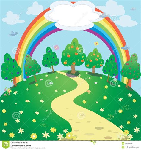 background clipart background of rainbow and garden vector