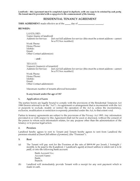Tenancy Agreement Letter Nz New Zealand Residential Tenancy Agreement Forms And Business Templates Megadox
