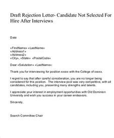 rejection letter template 7 rejection letter templates 7 free sle exle