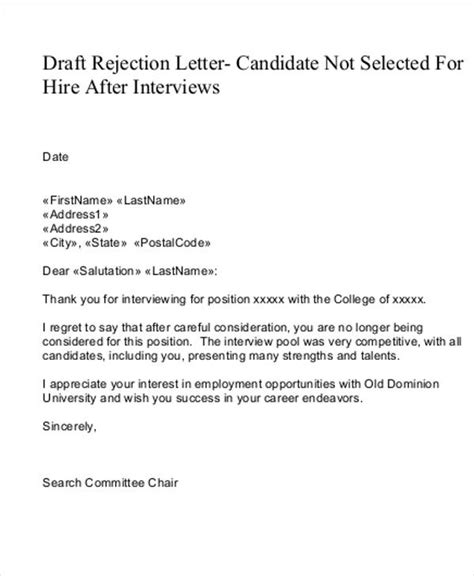 Rejection Letter Sle Candidate rejection letter sle 28 images business letter sle