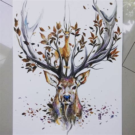 deer watercolor tattoo morning bali quot spirit quot watercolors on