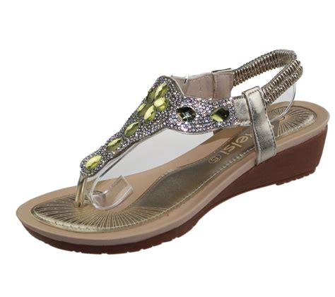 Womens Wedding Sandals by Womens Wedge Heel Sandals Diamante Toe Post Summer