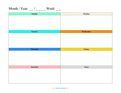 weekly calendar template free printable weekly calendar templates