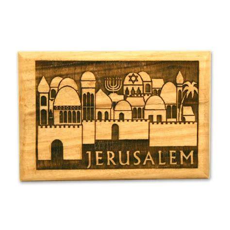 Souvenir Magnet Kulkas Jerussalem jerusalem magnet olive wood magnet featuring ancient jerusalem