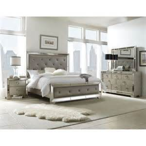 upholstered king bedroom set celine 6 piece mirrored and upholstered tufted king size