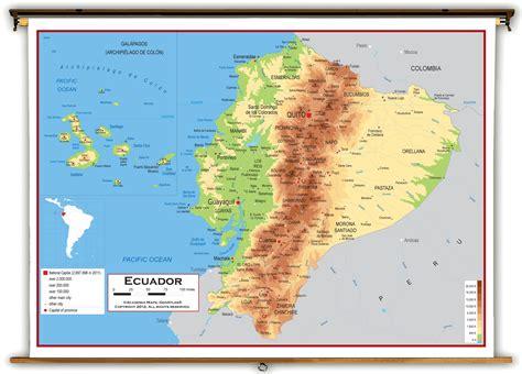 ecuador physical map ecuador physical educational wall map from academia maps