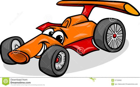 cartoon race car racing car bolide cartoon illustration stock vector