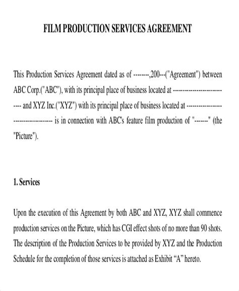 executive producer agreement template images templates