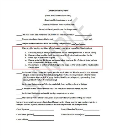 tattoo release form 8 consent form sles free sle exle
