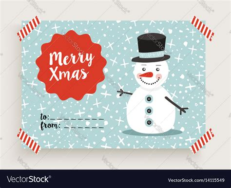 snowman card template merry retro snowman card template vector image