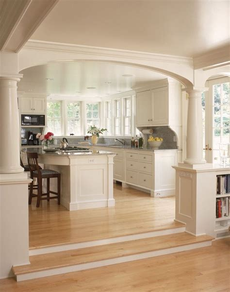 Open Kitchen With Island Open Kitchen Into Living Room Concepts With Pillars To Separate Areas Island Is Rounded For