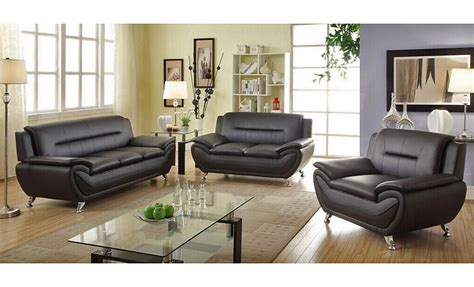 black leather sofa sets mina modern black leather sofa set