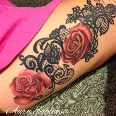 lace flower tattoo lace with roses done by our resident artist aura