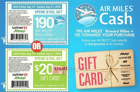 Safeway Ca Gift Cards - safeway sobeys west get a 20 gift card or 190 air miles when you spend 150 this