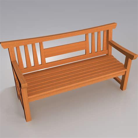 wooden japanese garden bench 3d model