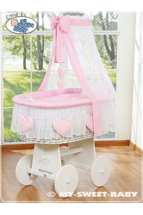 culle in vimini vimini neonato cuori rosa bianco