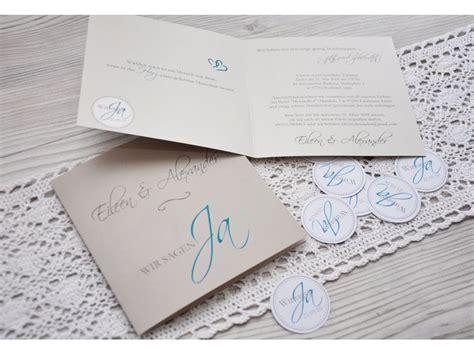 Einladungskarten Hochzeit Ja by Einladungskarte Hochzeit Quot Wir Sagen Ja Quot Taupe Petrol