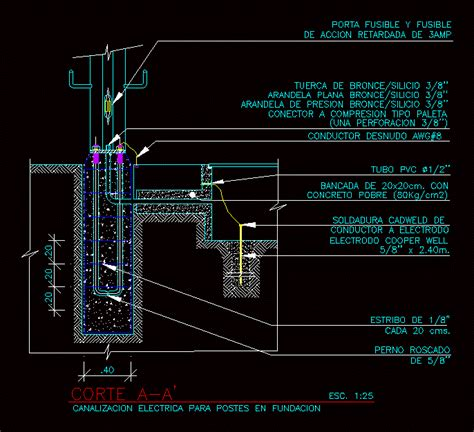 channeling electric pole dwg detail  autocad designs cad
