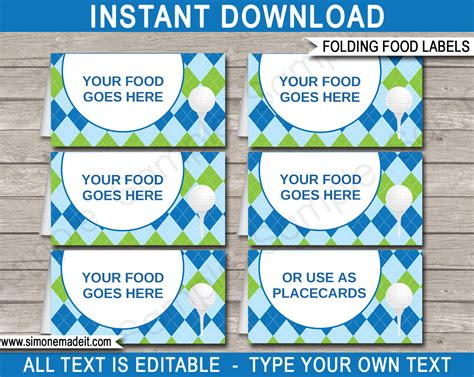 food cards for buffet template golf food labels place cards golf theme birthday
