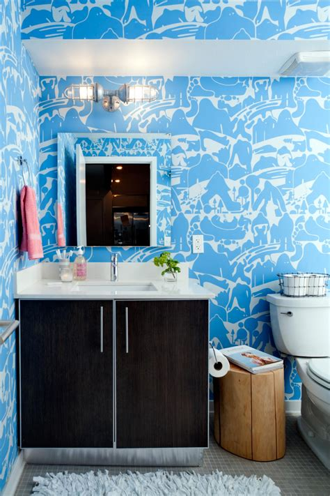 bright blue bathroom accessories blue eclectic bathroom photos hgtv powder room with bright