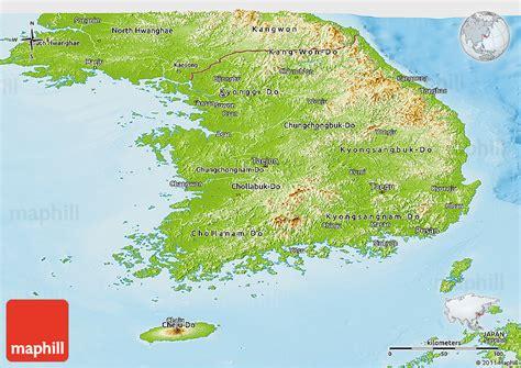 physical map of south korea physical panoramic map of south korea