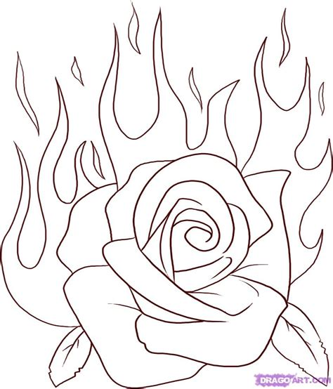 how to draw a flaming rose step by step tattoos pop
