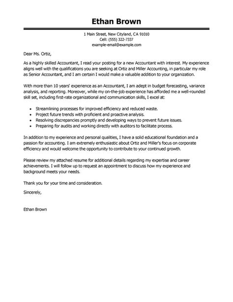 Cover Letter Format Accounting Best Accountant Cover Letter Exles Livecareer
