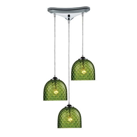 multi light pendant light with green glass and 3 lights