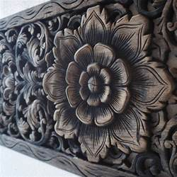 Lotus Carving Thai Lotus Wood Carving Wall Panel Siam Sawadee