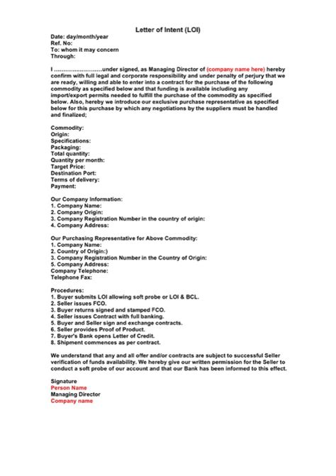Financial Commitment Letter Of Intent Template financial commitment letter of intent template
