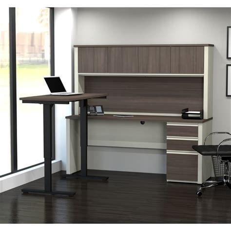 bestar prestige l desk bestar prestige plus height adjustable l desk with hutch