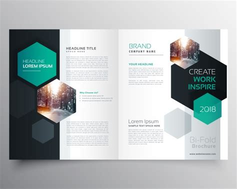 Brochure Template With Hexagonal Shapes Vector Free Download Booklet Template
