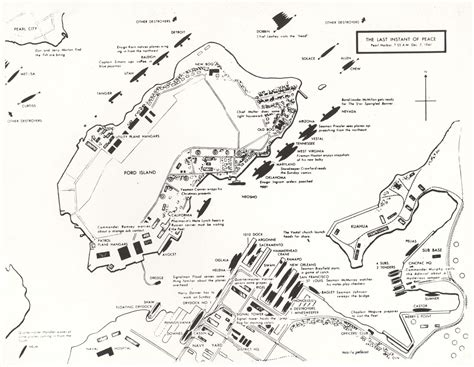 chart of ship at pearl harbor and routes of japanese attack on december 7 1941