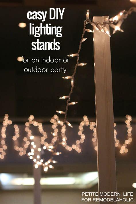poles for string lights easy diy light stands for string lights remodelaholic