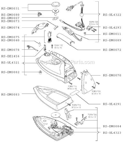 rowenta iron parts diagram rowenta dm875 parts list and diagram ereplacementparts