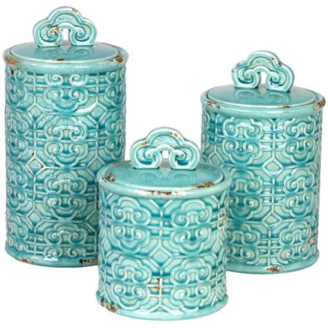 teal kitchen canisters chinois canister set for the home canister