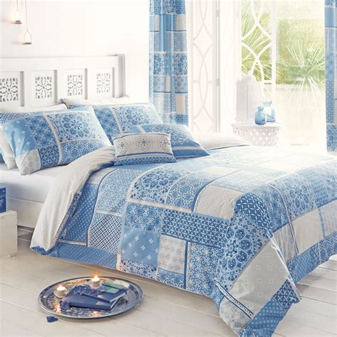 Blue Patchwork Duvet Cover - just contempo moroccan patchwork duvet cover set king blue