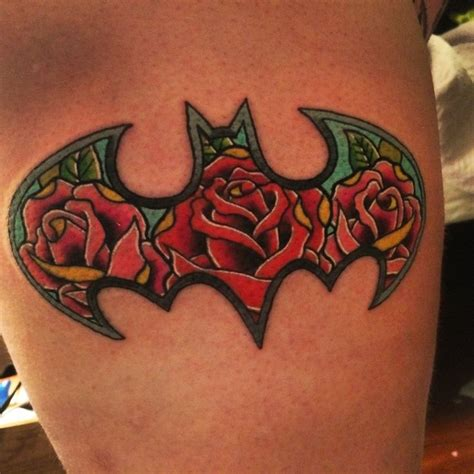 batman flower tattoo i finally got my batman tattoo i am so in love with the