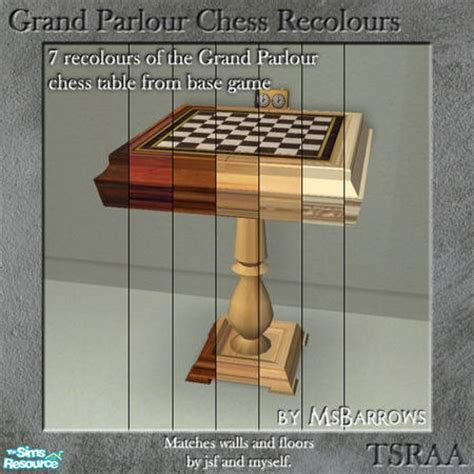chess table chairs sims 3 msbarrows grand parlour chess table recolours
