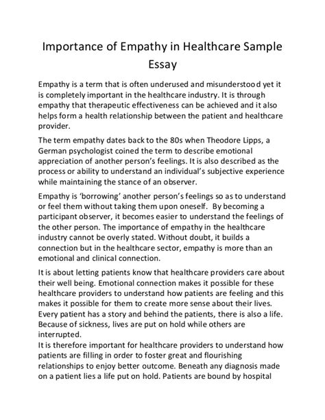 Essay About Health by Importance Of Empathy In Healthcare Sle Essay