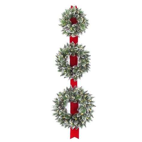 18 inch battery lit christmas tree national tree company glittery bristle 77 in artificial wreath door hang with battery