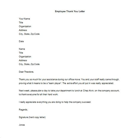 thank you letter for work to staff thank you letter to employee 14 free word excel pdf